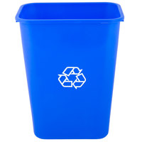 Lavex Janitorial 41 Qt. / 10 Gallon Blue Rectangular Recycling Wastebasket / Trash Can