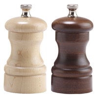 Chef Specialties 04202 Professional Series 4 inch Capstan Walnut Pepper Mill and Natural Maple Salt Mill Set