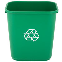 Lavex Janitorial 28 Qt. / 7 Gallon Green Rectangular Recycling Wastebasket / Trash Can