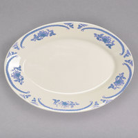 Homer Laughlin 1555035 American Rose Blue 11 3/4 inch x 8 1/4 inch Oval Ivory (American White) Rolled Edge China Platter - 12/Case