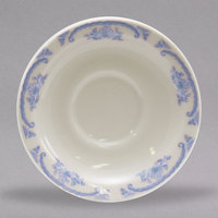 Homer Laughlin 2835035 American Rose Blue 5 1/2 inch Ivory (American White) China Texas Saucer - 36/Case