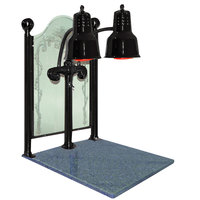 Hanson Heat Lamps DLM/CC/GB/B Dual Bulb 20 inch x 24 inch Black Carving Station with Natural Granite Base and Etched Sneeze Guard