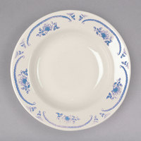 Homer Laughlin 2555035 American Rose Blue 6 oz. Ivory (American White) Rolled Edge China Rim Soup Bowl - 24/Case