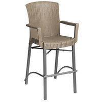 Grosfillex US254181 Havana Taupe Aluminum Indoor / Outdoor Bar Height Arm Chair with Synthetic Wicker Back and Seat