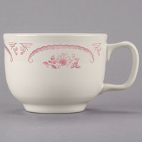 Homer Laughlin 1492 American Rose Red 18 oz. Ivory (American White) Jumbo China Cup - 12/Case