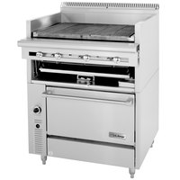 U. S. Range C836-336ARC Natural Gas 36 inch Cuisine Series Range Match Lava Rock Charbroiler with Adjustable Grates and Convection Oven Base - 172,000 BTU