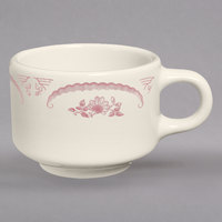 Homer Laughlin 1032 American Rose Red 7 oz. Ivory (American White) China Ship Cup - 36/Case