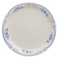 Homer Laughlin 2175035 American Rose Blue 10 1/2 inch Ivory (American White) Narrow Rim China Plate - 12/Case