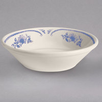 Homer Laughlin 1625035 American Rose Blue 4.5 oz. Ivory (American White) Rolled Edge China Fruit Bowl - 36/Case