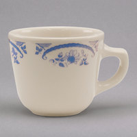 Homer Laughlin 1045035 American Rose Blue 7 oz. Ivory (American White) China Texas Cup - 36/Case