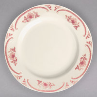 Homer Laughlin 2092 American Rose Red 10 1/4 inch Ivory (American White) Rolled Edge China Plate - 12/Case