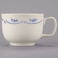 Homer Laughlin 1495035 American Rose Blue 18 oz. Ivory (American White) Jumbo China Cup - 12/Case