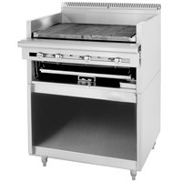 U. S. Range C0836-424A Natural Gas 24 inch Cuisine Series Range Match Radiant Charbroiler with Adjustable Grates and Storage Base - 72,000 BTU