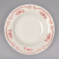 Homer Laughlin 2522 American Rose Red 12.25 oz. Ivory (American White) Rolled Edge China Rim Soup Bowl - 36/Case