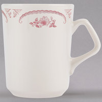 Homer Laughlin by Steelite International HL1322 American Rose Red 8.25 oz. Ivory (American White) China Troy Mug - 36/Case