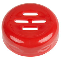 Tablecraft C260SLTRE Red Plastic Slotted Shaker Top   - 12/Pack
