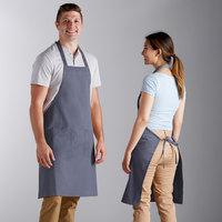 Choice Gray Poly-Cotton Bib Apron with 2 Pockets - 34 inchL x 32 inchW