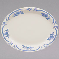 Homer Laughlin 2605035 American Rose Blue 11 3/8 inch x 9 inch Oval Ivory (American White) Narrow Rim China Platter - 12/Case