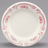 Homer Laughlin 2032 American Rose Red 7 1/8 inch Ivory (American White) Rolled Edge China Plate - 36/Case