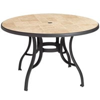 Grosfillex US527102 Louisiana 48 inch Toscana and Charcoal Round Resin Pedestal Table with Umbrella Hole