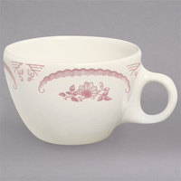 Homer Laughlin 1022 American Rose Red 7.5 oz. Ivory (American White) China Ovide Cup - 36/Case