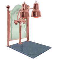 Hanson Heat Lamps DLM/CC/GB/BCOP Dual Bulb 20 inch x 24 inch Bright Copper Carving Station with Natural Granite Base and Etched Sneeze Guard