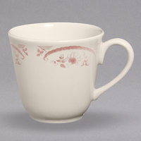 Homer Laughlin 0492 American Rose Red 8 oz. Ivory (American White) Colonial China Cup - 36/Case