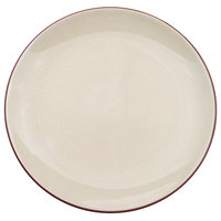 CAC 666-16-W Japanese Style 10 inch China Coupe Plate - Black Non-Glare Glaze / Creamy White - 12/Case