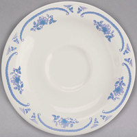 Homer Laughlin 2855035 American Rose Blue 4 7/8 inch Ivory (American White) China A.D. Saucer - 36/Case