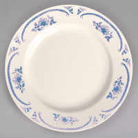 Homer Laughlin 4445035 American Rose Blue 10 5/8 inch Ivory (American White) Rolled Edge China Plate - 12/Case