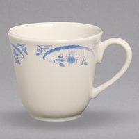 Homer Laughlin 495035 American Rose Blue 8 oz. Ivory (American White) Colonial China Cup - 36/Case