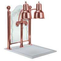 Hanson Heat Lamps DLM/CC/WB/BCOP Dual Bulb 20 inch x 24 inch Bright Copper Carving Station with White Solid Base and Etched Sneeze Guard