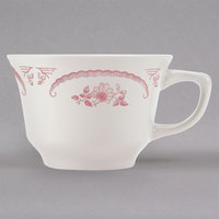 Homer Laughlin 1112 American Rose Red 7.5 oz. Ivory (American White) China Fairfax Cup - 36/Case