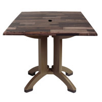 Grosfillex US240720 Atlanta 32 inch x 32 inch Shiplap Square Molded Melamine Outdoor Table with Umbrella Hole