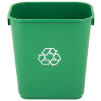 Lavex Janitorial 13 Qt. / 3 Gallon Green Rectangular Recycling Wastebasket / Trash Can