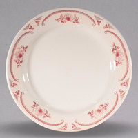 Homer Laughlin 2062 American Rose Red 9 5/8 inch Ivory (American White) Rolled Edge China Plate - 24/Case