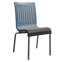 Grosfillex US928680 Viva Denim Blue / Charcoal Gray Stacking Resin Side Chair - 4/Pack