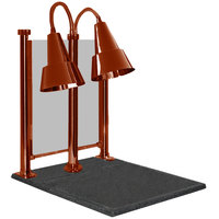 Hanson Heat Lamps DLM/100/CC/ST/SC Dual Bulb 20 inch x 24 inch Smoked Copper Carving Station with Sneeze Guard