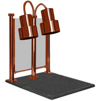 Hanson Heat Lamps DLM/200/CC/ST/SC Dual Bulb 20 inch x 24 inch Smoked Copper Carving Station with Sneeze Guard