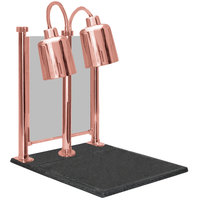Hanson Heat Lamps DLM/700/CC/ST/BCOP Dual Bulb 20 inch x 24 inch Bright Copper Carving Station with Sneeze Guard