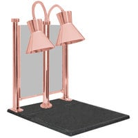 Hanson Heat Lamps DLM/300/CC/ST/BCOP Dual Bulb 20 inch x 24 inch Bright Copper Carving Station with Sneeze Guard