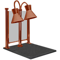 Hanson Heat Lamps DLM/300/CC/ST/SC Dual Bulb 20 inch x 24 inch Smoked Copper Carving Station with Sneeze Guard