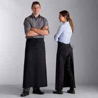 Choice Black Full Length Bistro Apron with Pockets - 38 inchL x 33 1/2 inchW