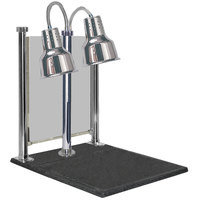 Hanson Heat Lamps DLM/600/CC/ST/CH Dual Bulb 20 inch x 24 inch Chrome Carving Station with Sneeze Guard