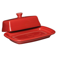Homer Laughlin 1431326 Fiesta Scarlet Extra Large China Covered Butter Dish - 4/Case