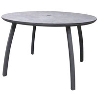 Grosfillex US48C288 Sunset 48 inch Concrete / Volcanic Black Round Table with Umbrella Hole