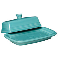 Homer Laughlin 1431107 Fiesta Turquoise Extra Large China Covered Butter Dish - 4/Case