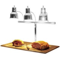 Hanson Heat Lamps 3LM-BB-CH Triple Bulb 20 inch x 36 inch Chrome Carving Station with Synthetic Granite Base
