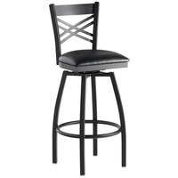 Lancaster Table & Seating Cross Back Bar Height Black Swivel Chair with Black Vinyl Seat