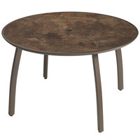 Grosfillex US48C599 Sunset 48 inch Lava / Fusion Bronze Round Table with Umbrella Hole